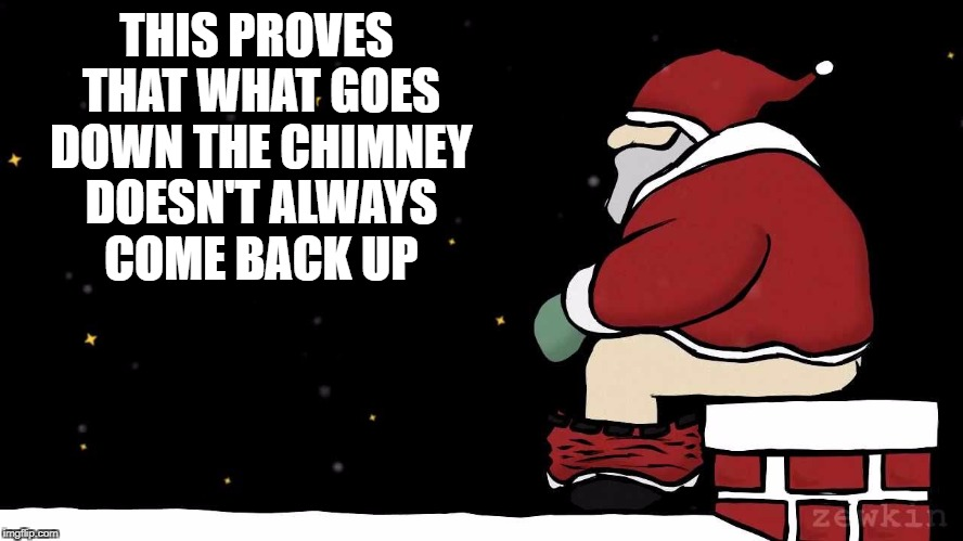 THIS PROVES THAT WHAT GOES DOWN THE CHIMNEY DOESN'T ALWAYS COME BACK UP | image tagged in santa poop | made w/ Imgflip meme maker