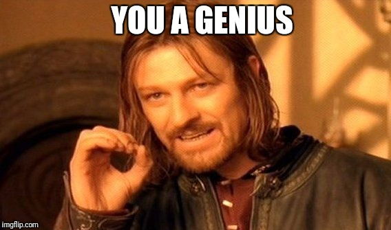 One Does Not Simply Meme | YOU A GENIUS | image tagged in memes,one does not simply | made w/ Imgflip meme maker