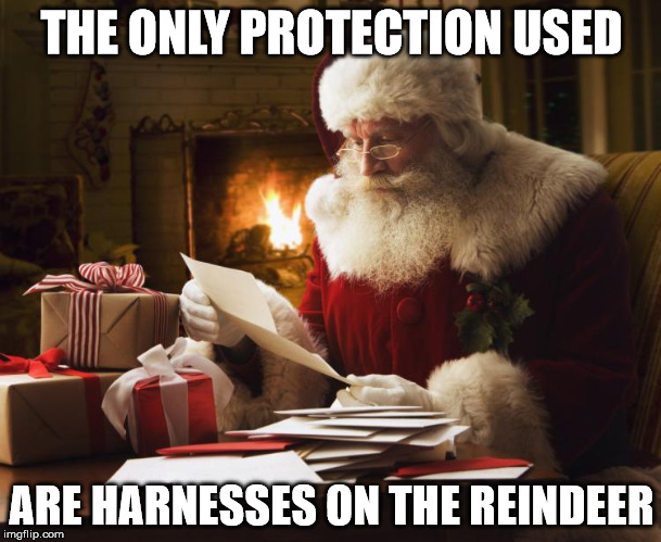 THE ONLY PROTECTION USED ARE HARNESSES ON THE REINDEER | made w/ Imgflip meme maker