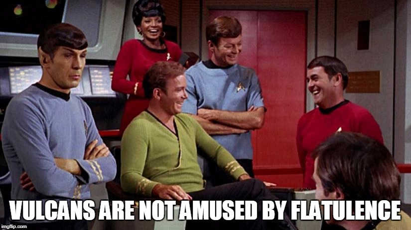 Spock is not amused | VULCANS ARE NOT AMUSED BY FLATULENCE | image tagged in star trek,mr spock,kirk and spock,memes | made w/ Imgflip meme maker