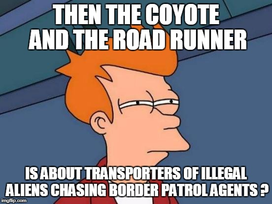 Futurama Fry Meme | THEN THE COYOTE AND THE ROAD RUNNER IS ABOUT TRANSPORTERS OF ILLEGAL ALIENS CHASING BORDER PATROL AGENTS ? | image tagged in memes,futurama fry | made w/ Imgflip meme maker