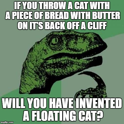 Philosoraptor Meme | IF YOU THROW A CAT WITH A PIECE OF BREAD WITH BUTTER ON IT'S BACK OFF A CLIFF WILL YOU HAVE INVENTED A FLOATING CAT? | image tagged in memes,philosoraptor | made w/ Imgflip meme maker