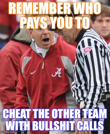 REMEMBER WHO PAYS YOU TO CHEAT THE OTHER TEAM WITH BULLSHIT CALLS | image tagged in satan saban | made w/ Imgflip meme maker