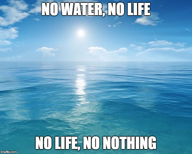 ocean | NO WATER, NO LIFE NO LIFE, NO NOTHING | image tagged in ocean | made w/ Imgflip meme maker