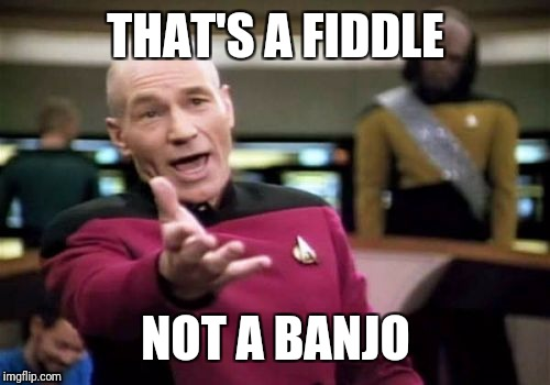 Picard Wtf Meme | THAT'S A FIDDLE NOT A BANJO | image tagged in memes,picard wtf | made w/ Imgflip meme maker