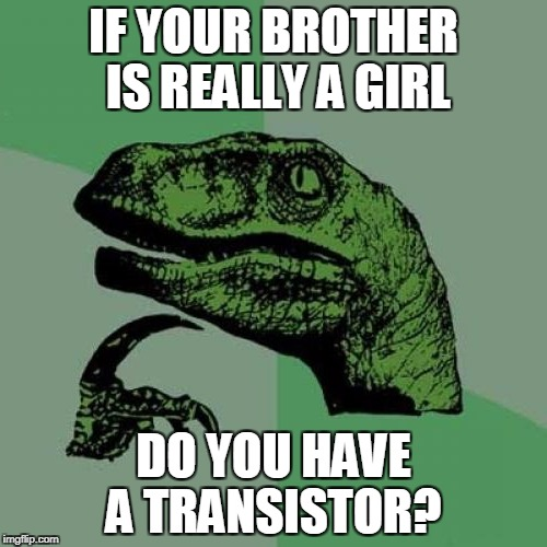 philosoraptor | IF YOUR BROTHER IS REALLY A GIRL DO YOU HAVE A TRANSISTOR? | image tagged in philosoraptor,transgender,brother,sister,siblings,memes | made w/ Imgflip meme maker