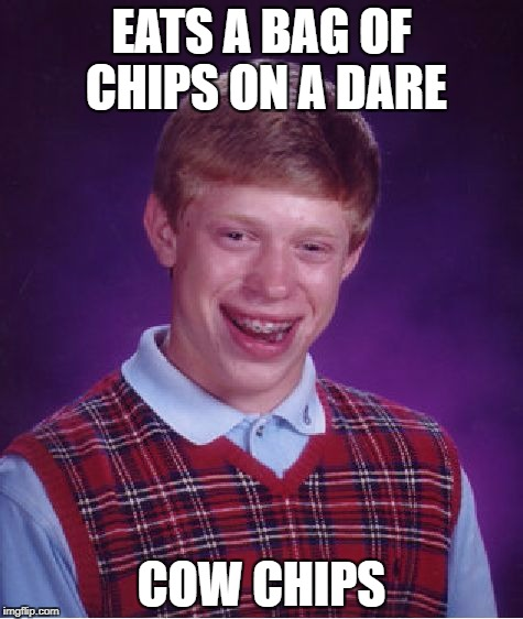 Bad Luck Brian Meme | EATS A BAG OF CHIPS ON A DARE COW CHIPS | image tagged in memes,bad luck brian | made w/ Imgflip meme maker