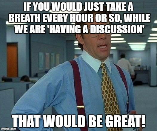 That Would Be Great Meme | IF YOU WOULD JUST TAKE A BREATH EVERY HOUR OR SO, WHILE WE ARE 'HAVING A DISCUSSION' THAT WOULD BE GREAT! | image tagged in memes,that would be great | made w/ Imgflip meme maker