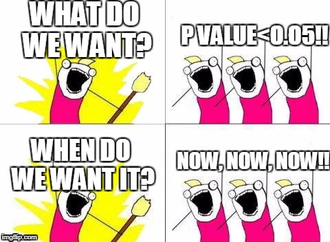 WHAT DO WE WANT? WHEN DO WE WANT IT? P VALUE<O.O5!! NOW, NOW, NOW!! | image tagged in what do we want | made w/ Imgflip meme maker