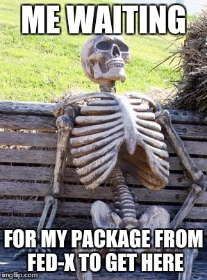 Waiting Skeleton Meme | ME WAITING FOR MY PACKAGE FROM FED-X TO GET HERE | image tagged in memes,waiting skeleton | made w/ Imgflip meme maker