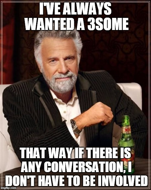 The Most Interesting Man In The World Meme | I'VE ALWAYS WANTED A 3SOME THAT WAY IF THERE IS ANY CONVERSATION, I DON'T HAVE TO BE INVOLVED | image tagged in memes,the most interesting man in the world | made w/ Imgflip meme maker
