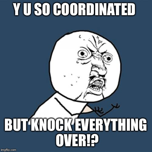 Y U No Meme | Y U SO COORDINATED BUT KNOCK EVERYTHING OVER!? | image tagged in memes,y u no | made w/ Imgflip meme maker
