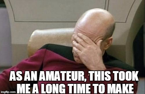 Captain Picard Facepalm Meme | AS AN AMATEUR, THIS TOOK ME A LONG TIME TO MAKE | image tagged in memes,captain picard facepalm | made w/ Imgflip meme maker