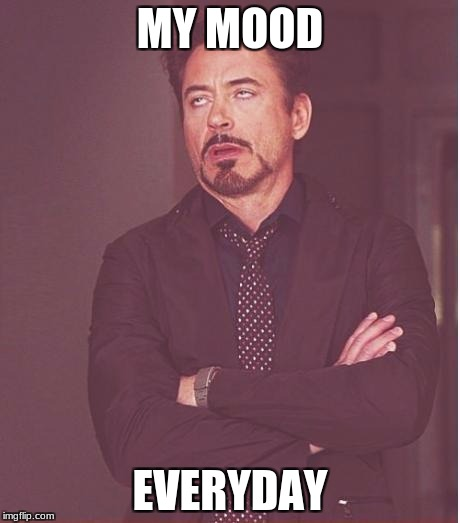 Face You Make Robert Downey Jr Meme | MY MOOD EVERYDAY | image tagged in memes,face you make robert downey jr | made w/ Imgflip meme maker
