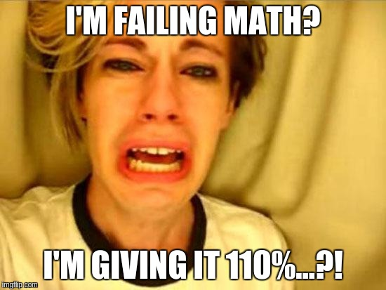 Stupidity | I'M FAILING MATH? I'M GIVING IT 110%...?! | image tagged in stupidity | made w/ Imgflip meme maker