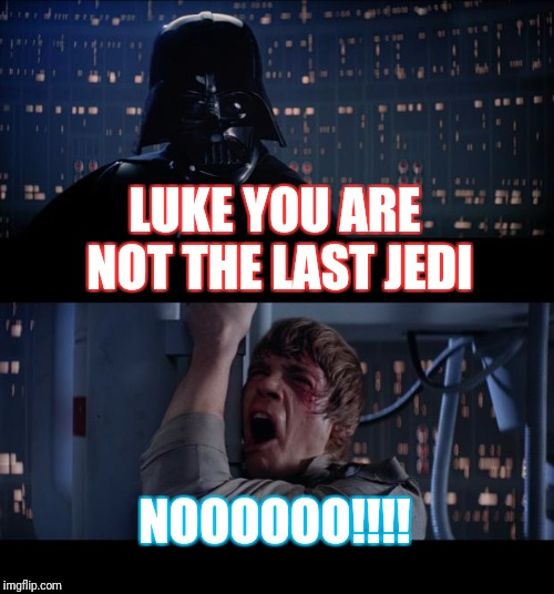 Star Wars No Meme | LUKE YOU ARE NOT THE LAST JEDI NOOOOOO!!!! | image tagged in memes,star wars no | made w/ Imgflip meme maker