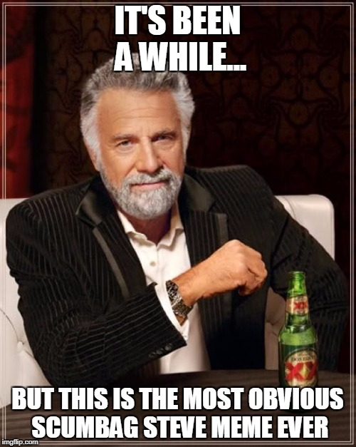 The Most Interesting Man In The World Meme | IT'S BEEN A WHILE... BUT THIS IS THE MOST OBVIOUS SCUMBAG STEVE MEME EVER | image tagged in memes,the most interesting man in the world | made w/ Imgflip meme maker