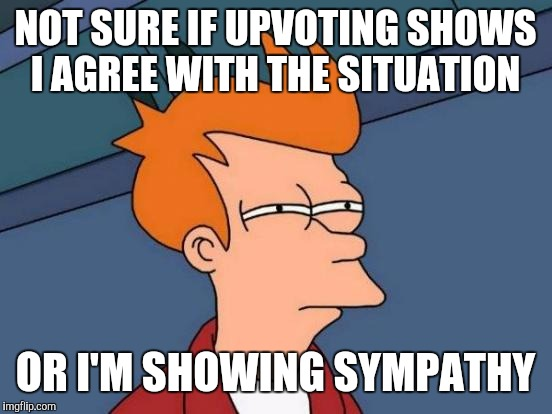 Futurama Fry Meme | NOT SURE IF UPVOTING SHOWS I AGREE WITH THE SITUATION OR I'M SHOWING SYMPATHY | image tagged in memes,futurama fry | made w/ Imgflip meme maker
