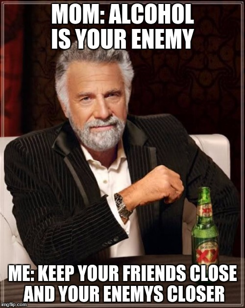 The Most Interesting Man In The World Meme | MOM: ALCOHOL IS YOUR ENEMY ME: KEEP YOUR FRIENDS CLOSE AND YOUR ENEMYS CLOSER | image tagged in memes,the most interesting man in the world | made w/ Imgflip meme maker