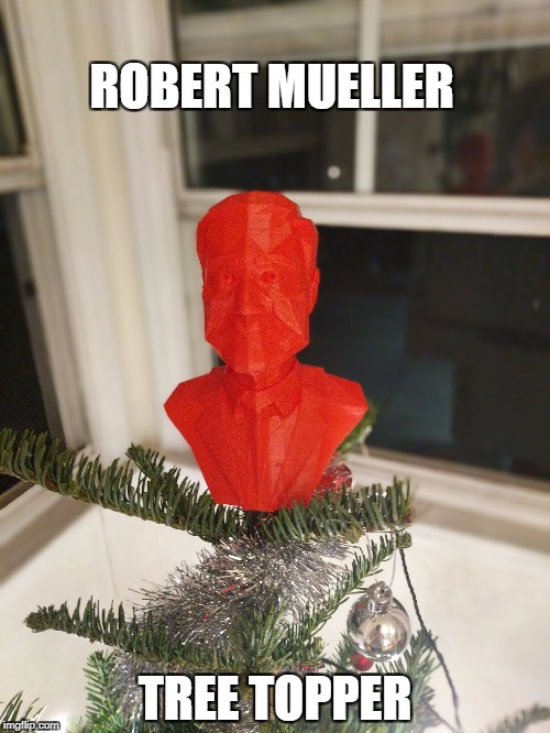 Robert Mueller Tree Topper | ROBERT MUELLER TREE TOPPER | image tagged in robert mueller,donald trump,fbi investigation,russian investigation,christmas tree,merry christmas | made w/ Imgflip meme maker
