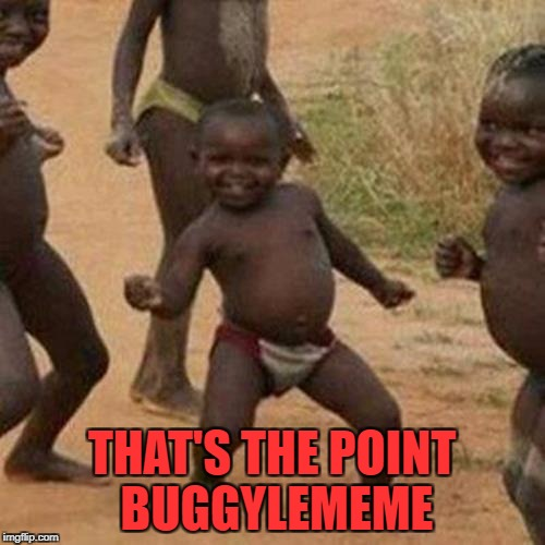 Third World Success Kid Meme | THAT'S THE POINT BUGGYLEMEME | image tagged in memes,third world success kid | made w/ Imgflip meme maker