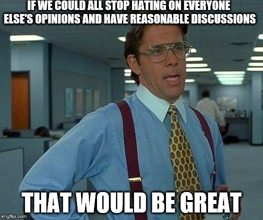 That Would Be Great Meme | IF WE COULD ALL STOP HATING ON EVERYONE ELSE'S OPINIONS AND HAVE REASONABLE DISCUSSIONS THAT WOULD BE GREAT | image tagged in memes,that would be great,inferno390 | made w/ Imgflip meme maker