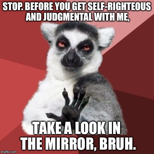 Anti judgment lemur | STOP. BEFORE YOU GET SELF-RIGHTEOUS AND JUDGMENTAL WITH ME, TAKE A LOOK IN THE MIRROR, BRUH. | image tagged in memes,chill out lemur,judge,bruh,mirror,meme | made w/ Imgflip meme maker