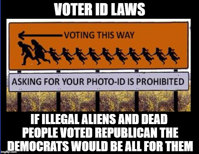 VOTER ID LAWS IF ILLEGAL ALIENS AND DEAD PEOPLE VOTED REPUBLICAN THE DEMOCRATS WOULD BE ALL FOR THEM | image tagged in memes,illegal immigration,illegal aliens,democratic party,dead voters | made w/ Imgflip meme maker