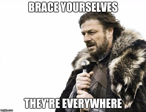 Brace Yourselves X is Coming Meme | BRACE YOURSELVES THEY'RE EVERYWHERE | image tagged in memes,brace yourselves x is coming | made w/ Imgflip meme maker