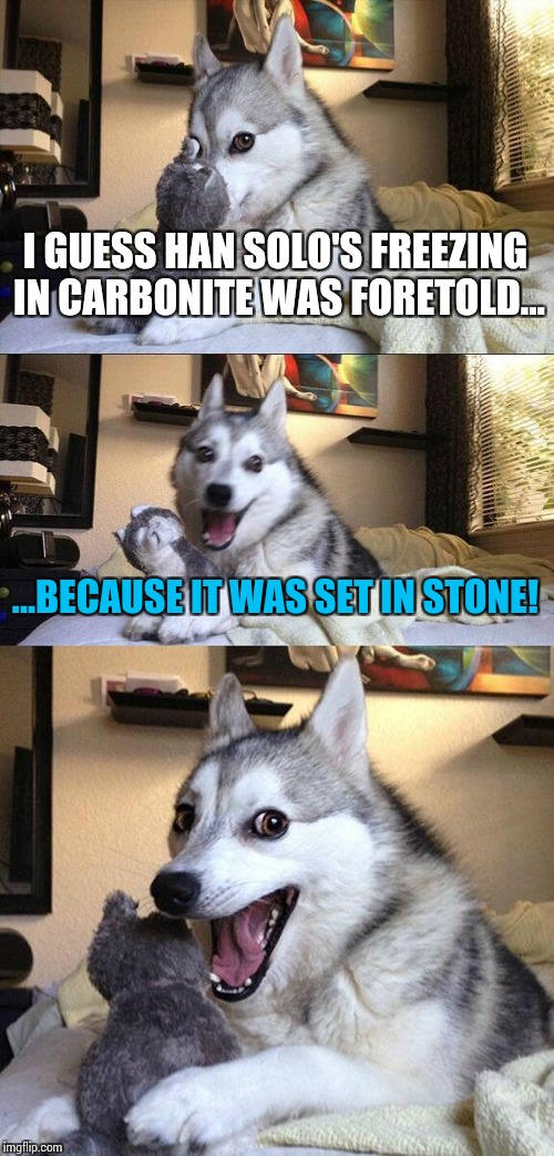 I guess this joke hit rock bottom. | I GUESS HAN SOLO'S FREEZING IN CARBONITE WAS FORETOLD... ...BECAUSE IT WAS SET IN STONE! | image tagged in memes,bad pun dog,funny,star wars | made w/ Imgflip meme maker