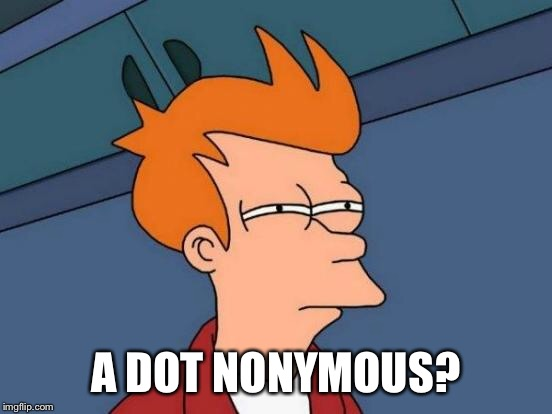 Futurama Fry Meme | A DOT NONYMOUS? | image tagged in memes,futurama fry | made w/ Imgflip meme maker