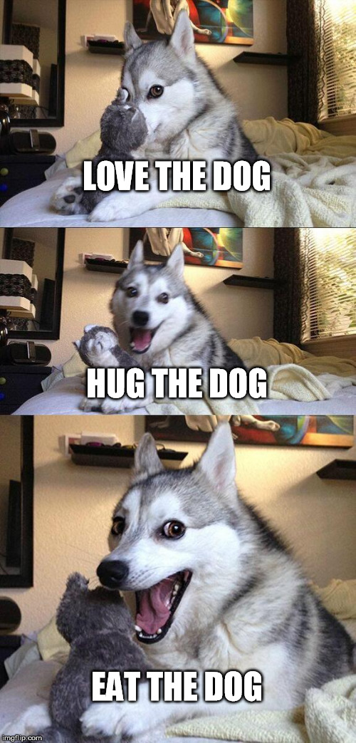 Bad Pun Dog Meme | LOVE THE DOG HUG THE DOG EAT THE DOG | image tagged in memes,bad pun dog | made w/ Imgflip meme maker