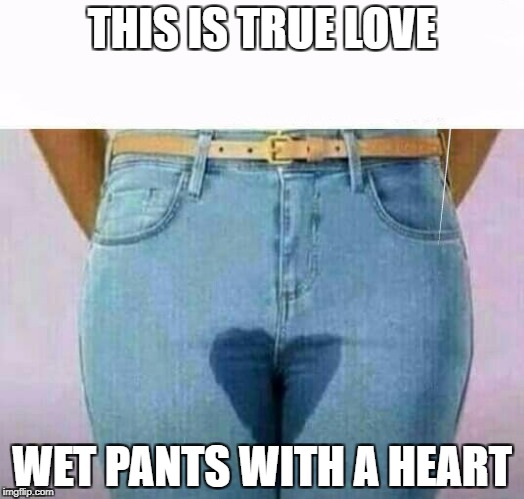 THIS IS TRUE LOVE WET PANTS WITH A HEART | image tagged in wet pants | made w/ Imgflip meme maker