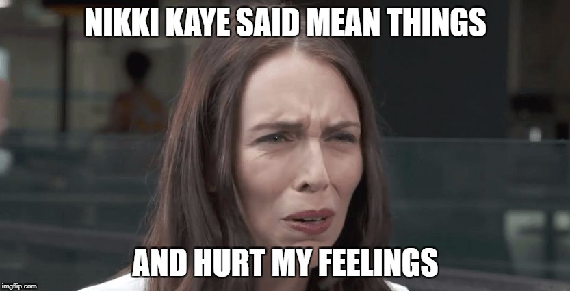 Snowflake Prime minister. | NIKKI KAYE SAID MEAN THINGS AND HURT MY FEELINGS | image tagged in jacinda ardern,taxinda,stupid liberals,meme,new zealand,labour party | made w/ Imgflip meme maker