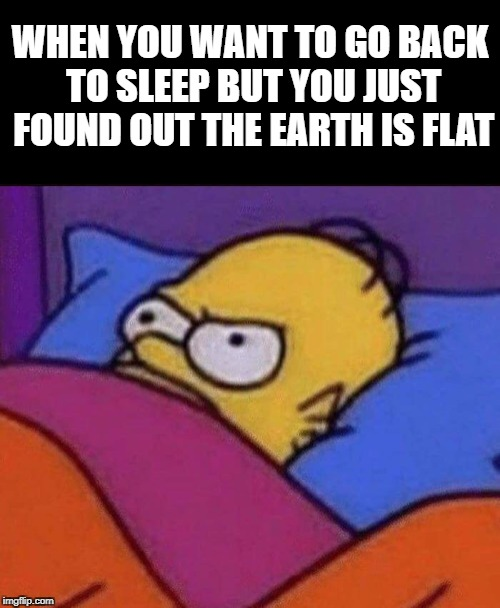 Flat Earth Woke Me Up | WHEN YOU WANT TO GO BACK TO SLEEP BUT YOU JUST FOUND OUT THE EARTH IS FLAT | image tagged in flatearth | made w/ Imgflip meme maker