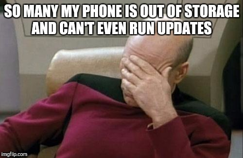 Captain Picard Facepalm Meme | SO MANY MY PHONE IS OUT OF STORAGE AND CAN'T EVEN RUN UPDATES | image tagged in memes,captain picard facepalm | made w/ Imgflip meme maker