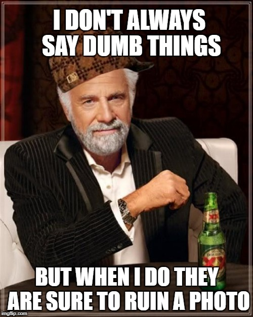 The Most Interesting Man In The World Meme | I DON'T ALWAYS SAY DUMB THINGS BUT WHEN I DO THEY ARE SURE TO RUIN A PHOTO | image tagged in memes,the most interesting man in the world,scumbag | made w/ Imgflip meme maker
