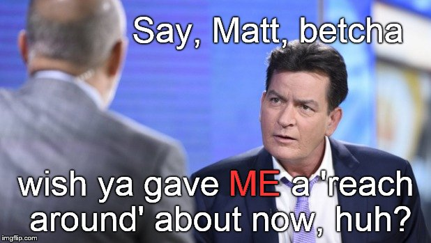 Historic pic of the voice of moral indignation, Matt LAUER, scolding Bad Boy Charlie SHEEN. | Say, Matt, betcha wish ya gave ME a 'reach around' about now, huh? ME | image tagged in matt lauer,charlie sheen,tsk tsk,moral highground,shame on you,reach around | made w/ Imgflip meme maker