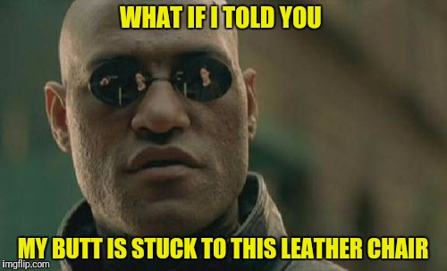 Matrix Morpheus Meme | WHAT IF I TOLD YOU MY BUTT IS STUCK TO THIS LEATHER CHAIR | image tagged in memes,matrix morpheus | made w/ Imgflip meme maker