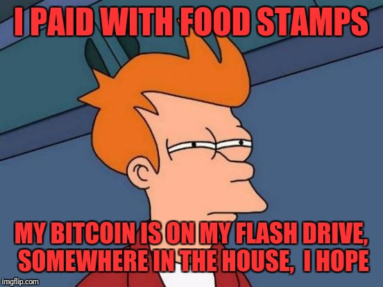 Futurama Fry Meme | I PAID WITH FOOD STAMPS MY BITCOIN IS ON MY FLASH DRIVE, SOMEWHERE IN THE HOUSE,  I HOPE | image tagged in memes,futurama fry | made w/ Imgflip meme maker
