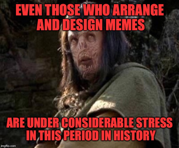 EVEN THOSE WHO ARRANGE AND DESIGN MEMES ARE UNDER CONSIDERABLE STRESS IN THIS PERIOD IN HISTORY | made w/ Imgflip meme maker