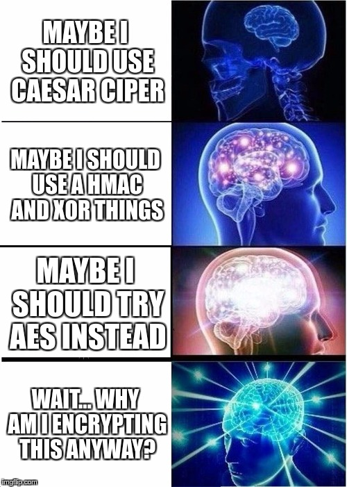 Expanding Brain meets Cryptography | MAYBE I SHOULD USE CAESAR CIPER MAYBE I SHOULD USE A HMAC AND XOR THINGS MAYBE I SHOULD TRY AES INSTEAD WAIT… WHY AM I ENCRYPTING THIS ANYWA | image tagged in memes,expanding brain,funny,cryptography,evolution | made w/ Imgflip meme maker