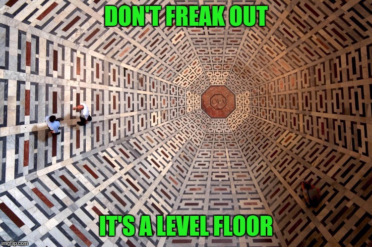 Some architectural designs are amazing | DON'T FREAK OUT IT'S A LEVEL FLOOR | image tagged in pipe_picasso,floor,design | made w/ Imgflip meme maker