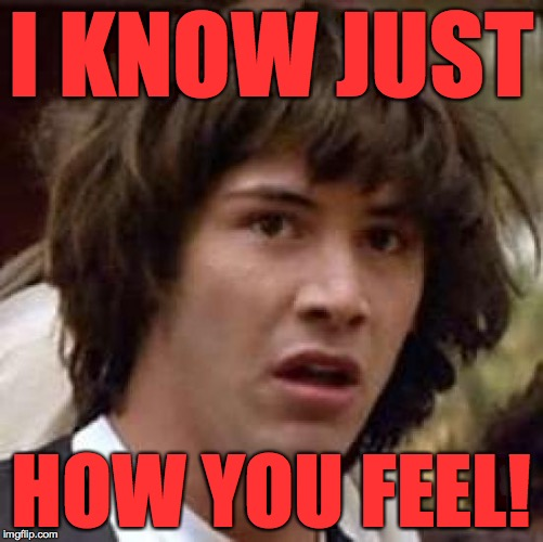 Conspiracy Keanu Meme | I KNOW JUST HOW YOU FEEL! | image tagged in memes,conspiracy keanu | made w/ Imgflip meme maker