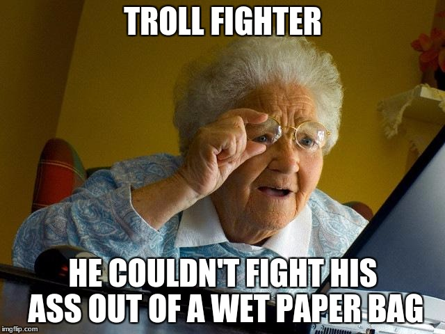 Grandma Finds The Internet Meme | TROLL FIGHTER HE COULDN'T FIGHT HIS ASS OUT OF A WET PAPER BAG | image tagged in memes,grandma finds the internet | made w/ Imgflip meme maker