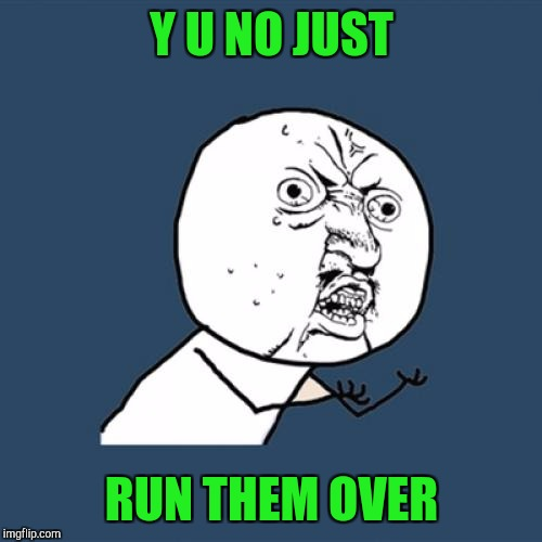 Y U No Meme | Y U NO JUST RUN THEM OVER | image tagged in memes,y u no | made w/ Imgflip meme maker