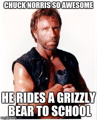 Chuck Norris Grizzly Bear | CHUCK NORRIS SO AWESOME HE RIDES A GRIZZLY BEAR TO SCHOOL | image tagged in memes,chuck norris flex,chuck norris,grizzly,funny | made w/ Imgflip meme maker