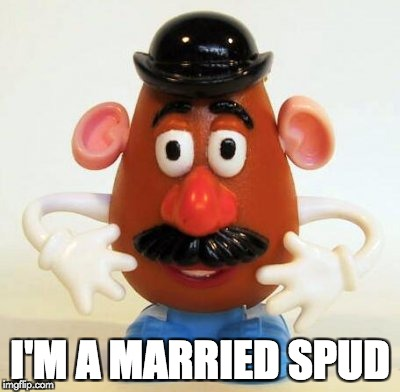 I'M A MARRIED SPUD | image tagged in mr potato head | made w/ Imgflip meme maker