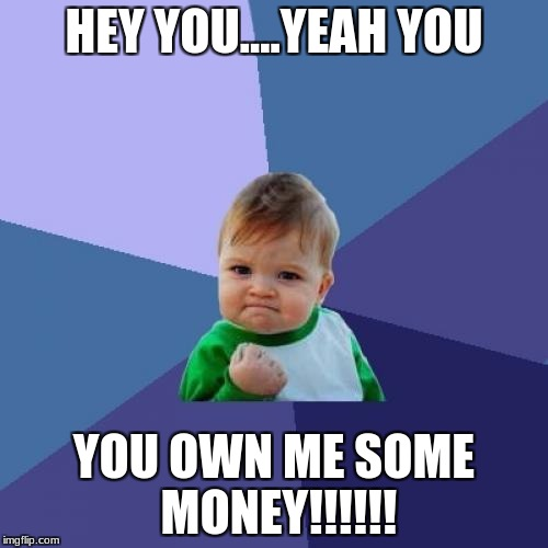 Success Kid Meme | HEY YOU....YEAH YOU YOU OWN ME SOME MONEY!!!!!! | image tagged in memes,success kid | made w/ Imgflip meme maker