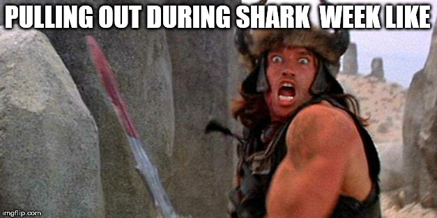 PULLING OUT DURING SHARK  WEEK LIKE | image tagged in arnold schwarzenegger conan barbarian shark week sword blood funny face period pull out penis dick cock body building muscular g | made w/ Imgflip meme maker